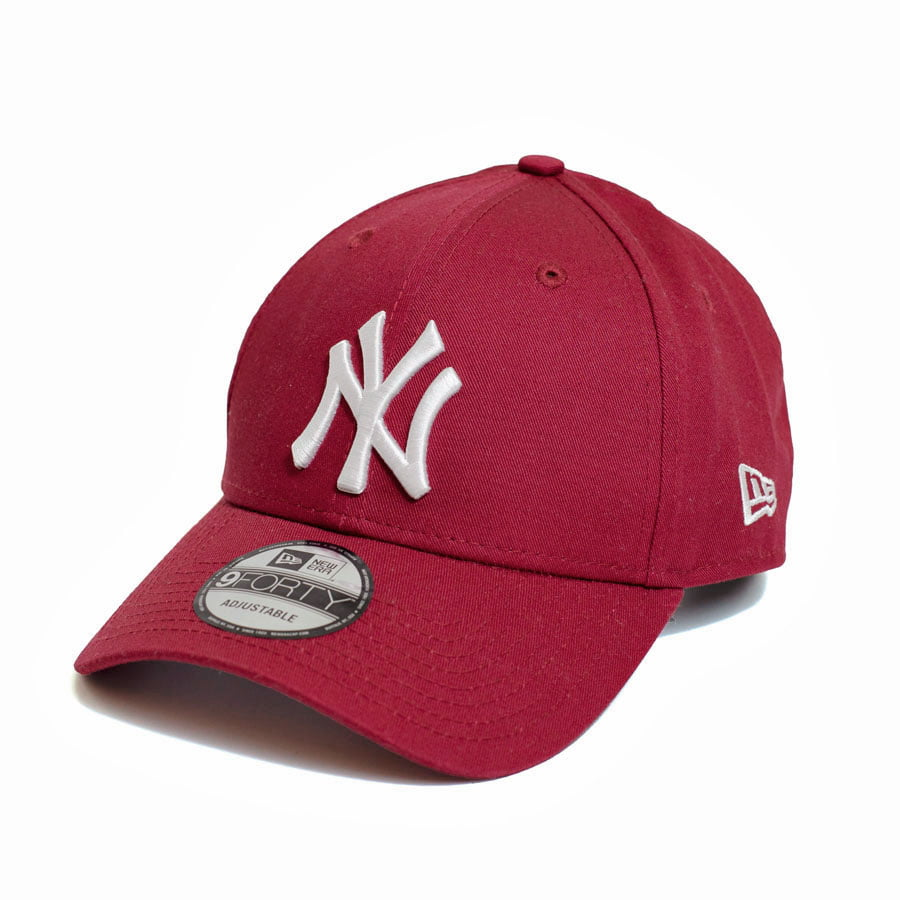 Boné New Era 940 Sn White On Cardinal NY Yankees MLB Aba Curva Bordô Snapback