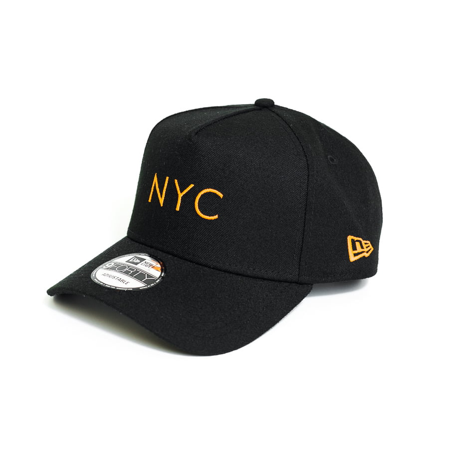 Boné New Era 940 AF SN Simple Fluor NYC Aba Curva Preto Snapback