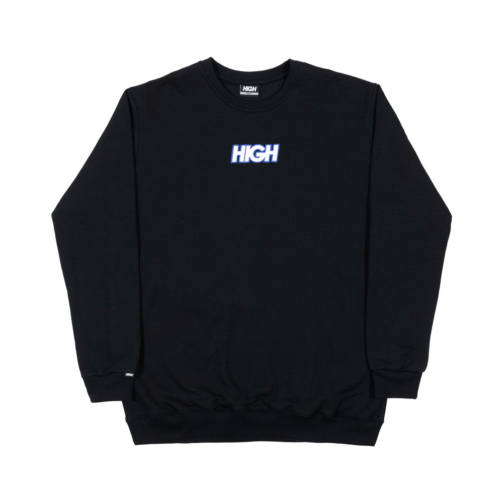 MOLETOM HIGH CREWNECK LOGO COLORED BLACK