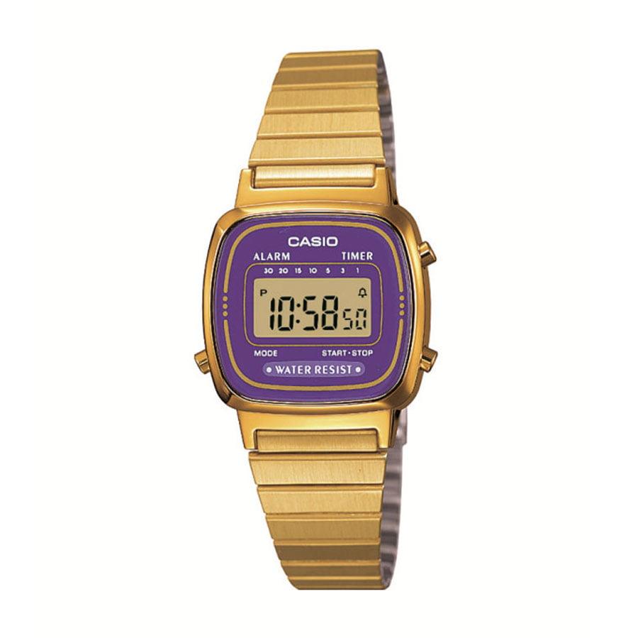 Relógio Casio Vintage Digital Dourado Roxo LA670WGA-6DF