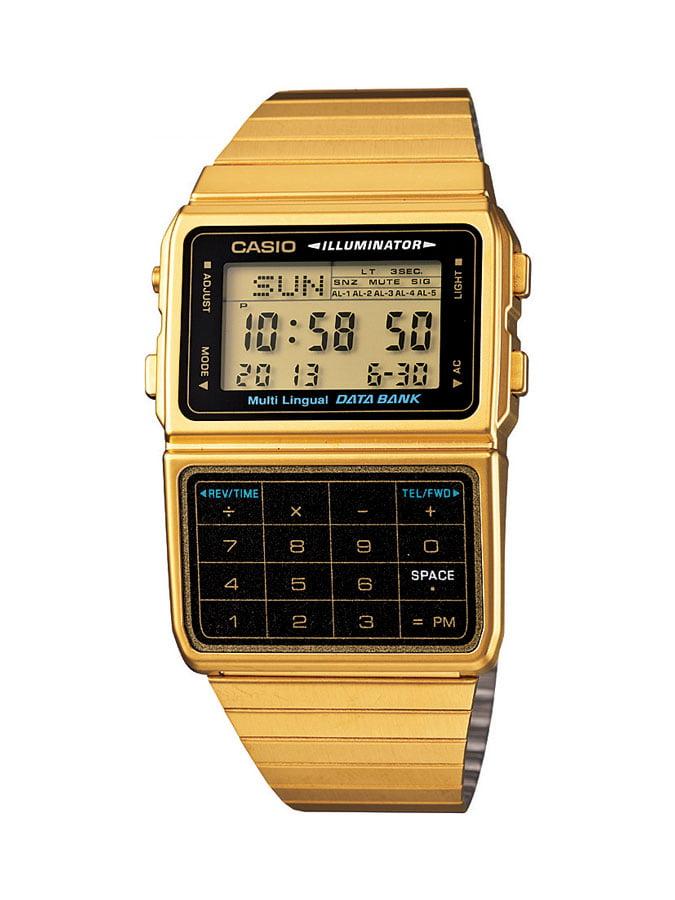 Relógio Casio Vintage Digital Data Bank Calculadora Dourado DBC-611G-1DF