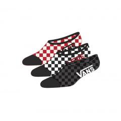 Meia Vans Super No Show Checkerboard Kit 3 Pares 39-44