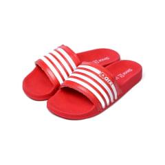 Chinelo Qix Slide Listrado Vermelho
