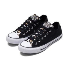 TÊNIS CONVERSE CHUCK TAYLOR ALL STAR OX PRETO AMENDOA ANIMAL PRINT