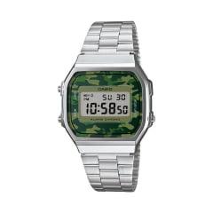 Relógio Casio Vintage Digital Prata Camo A168WEC-3DF